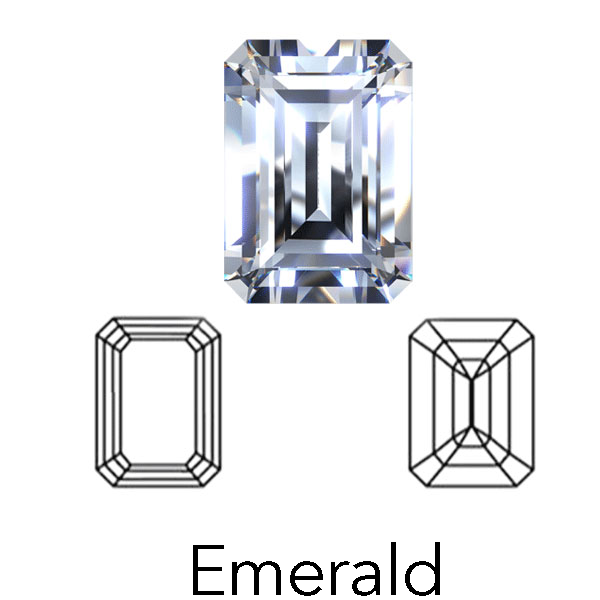 emerald cut display of LONITÉ cremation diamonds from hair and human ashes