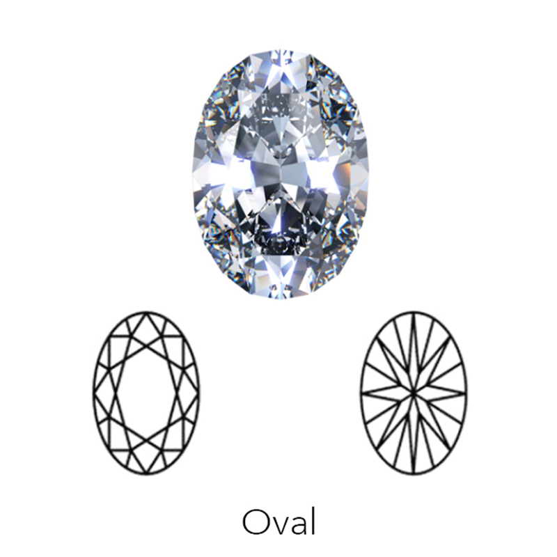 oval cut display of LONITÉ cremation diamonds from hair and human ashes