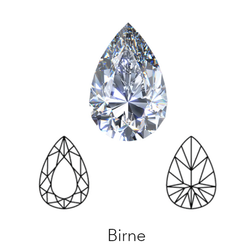 pear cut display of LONITÉ cremation diamonds from cremation ashes and hair
