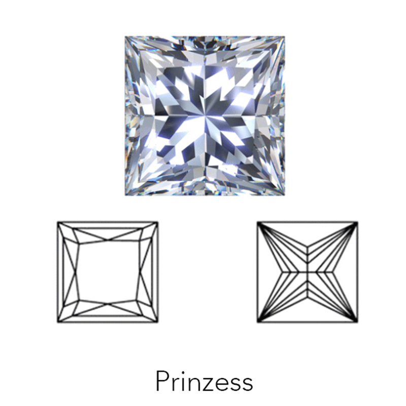 princess cut display of LONITÉ cremation diamonds from cremated ashes and cremains
