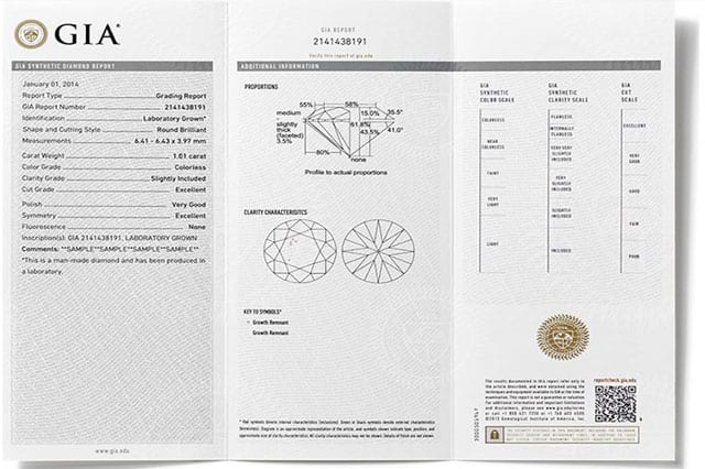 GIA man-made diamond certificate sample on LONITE cremation diamonds from ashes