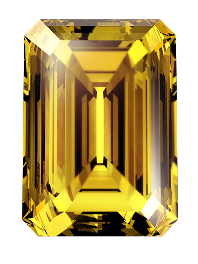 A cremation ashes diamond of amber colour and emerald cut created from ashes or hair
