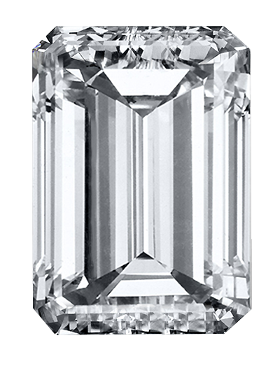 A memorial diamond of white/colourless colour and emerald cut created from cremation ashes or hair