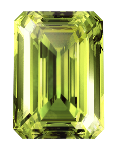 A LONITÉ cremation diamond created from cremation ashes or hair in greenish yellow colour & emerald cut